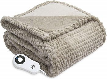 Serta Heated Electric Honeycomb Faux Fur Throw