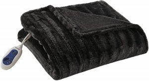 Black Beautyrest Faux Fur Heated Throw